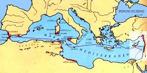 Mediterraneo Cartina.Cartina Dei Traffici Commerciali Del Mondo Antico Mediterraneo Tourismsicilia